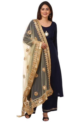 Blue Rayon Front Slit Kurti with Straight Palazzo and Gold Gotta Embroidered Dupatta