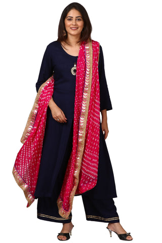 Blue Rayon Front Slit Kurti with Straight Palazzo and Pink Bandhani Dupatta