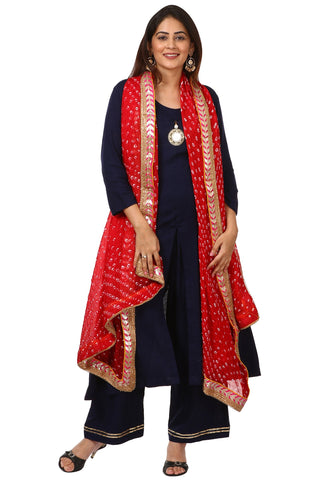 Blue Rayon Front Slit Kurti with Straight Palazzo and Red Bandhani Dupatta