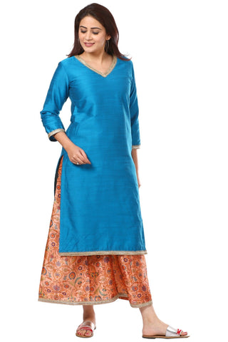 Azure Blue Silk Straight Kurti with Peach Printed Kalidar Palazzo