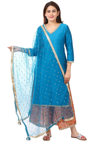Azure Blue Silk Straight Kurti with Peach Printed Kalidar Palazzo and Net Sequenced Dupatta