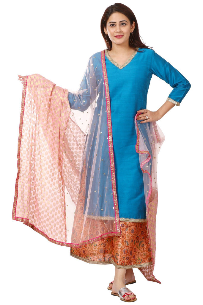 anokherang Combos Blue Silk Straight Kurti and Peach Printed Kalidar Palazzo with Net & Banarsi Georgette Dupatta