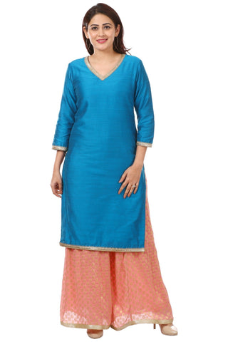 Azure Blue Silk Straight Kurti with Peach Georgette Banarsi Kalidar Palazzo
