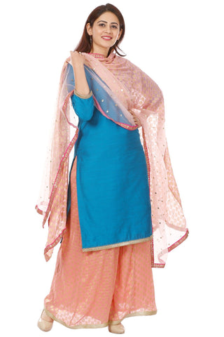 Azure Blue Silk Straight Kurti with Georgette Banarsi Palazzo and Net Banarsi Georgette Dupatta