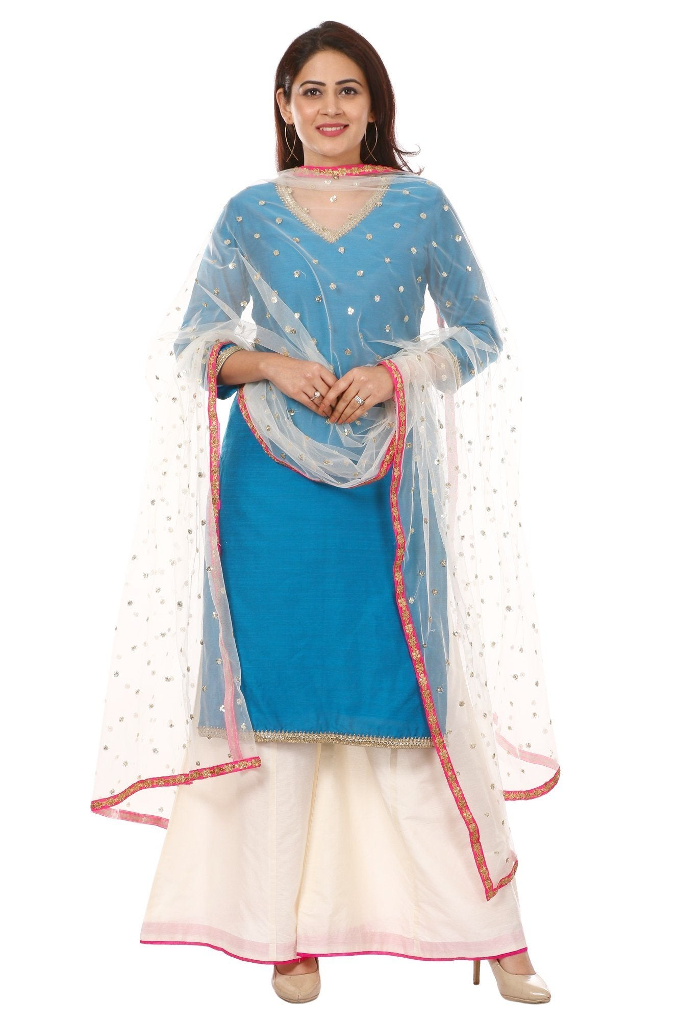 eddb271010 Home > Products > Azure Blue Silk Straight Kurti with Off-White Kalidar  Palazzo and Net Sequenced Dupatta