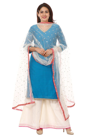 Azure Blue Silk Straight Kurti with Off-White Kalidar Palazzo and Net Sequenced Dupatta