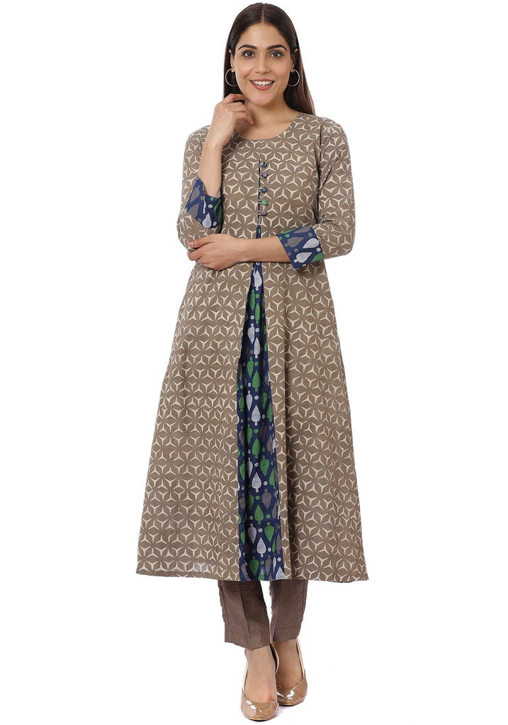 anokherang Combos Blue Spade Front Pleated Kurti with Pants