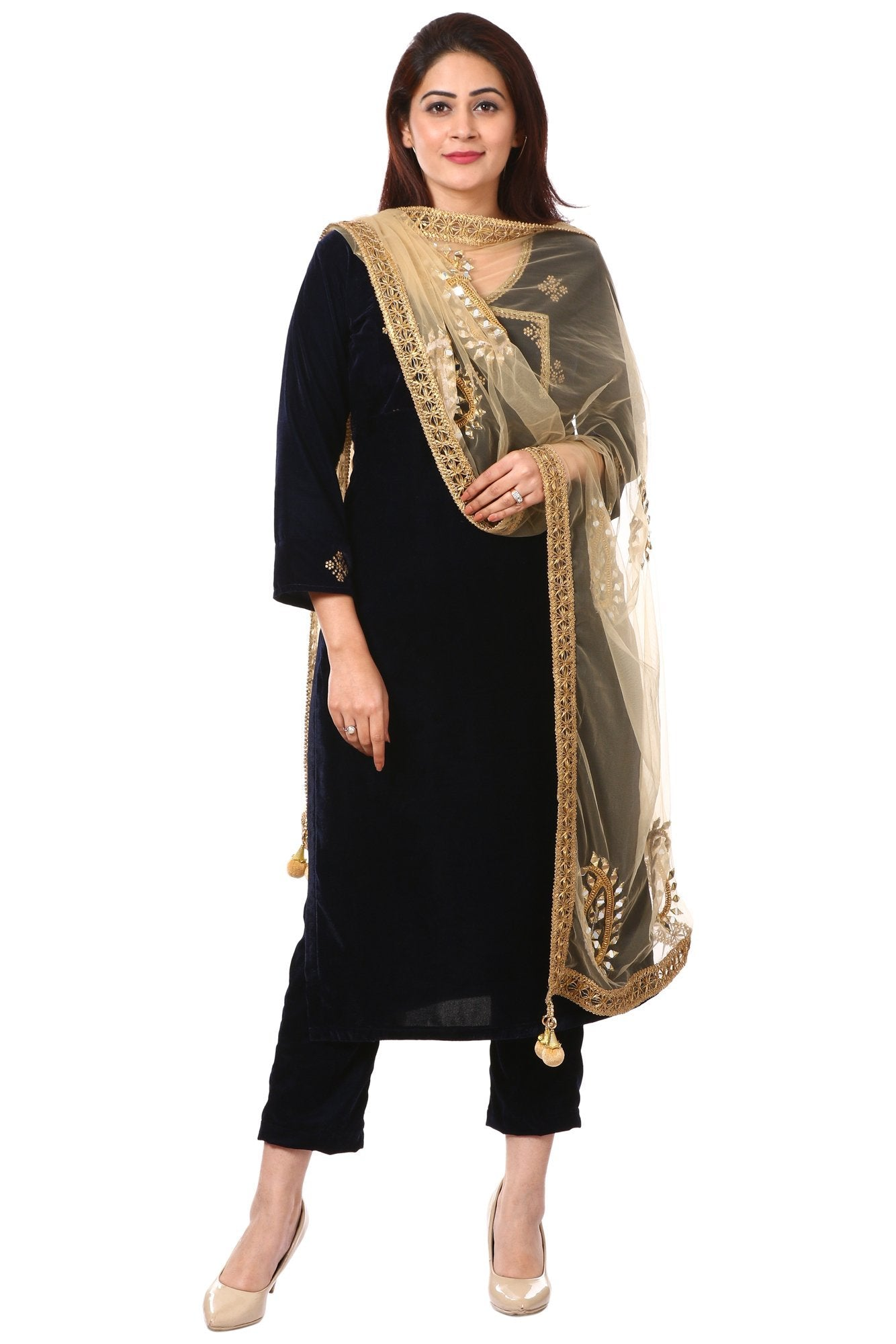 42782fd911 Home > Products > Blue Stars Embroidered Overlapped Kurti with Straight  Velvet Pants and Gold Paisley Dupatta
