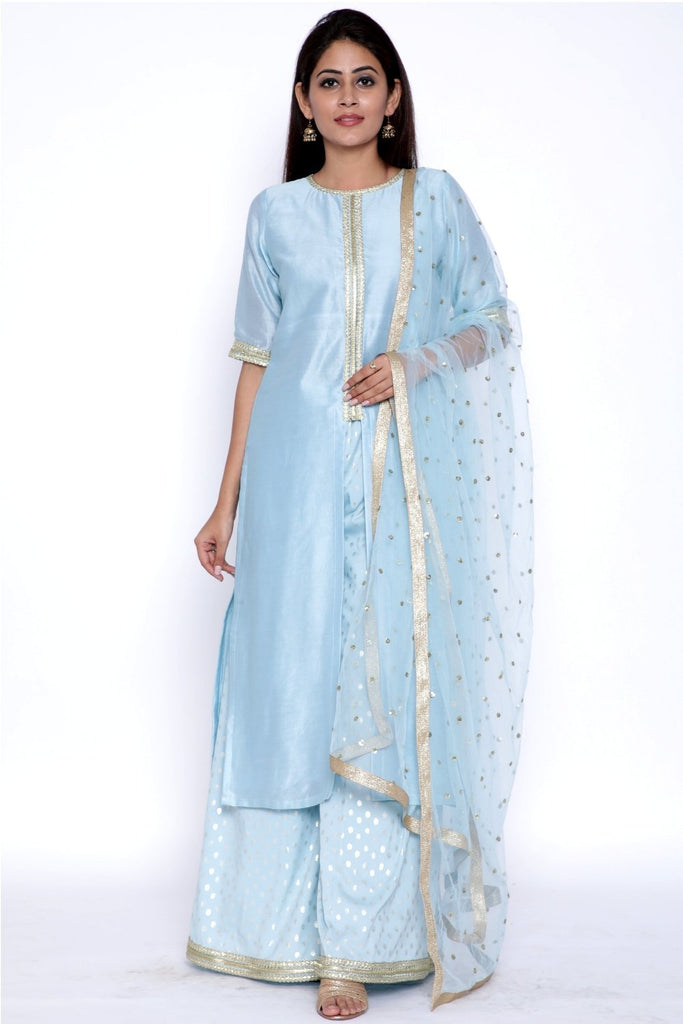 anokherang Combos Blush Blue Front Slit Kurti with Flared Palazzos and Sequenced Dupatta