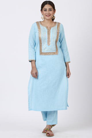 Blush Blue Gotta Straight Kurti with Straight Pants