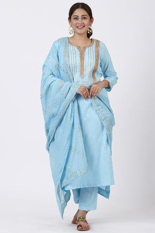 Blush Blue Straight Kurti with Straight Pants and Gotta Patti Dupatta