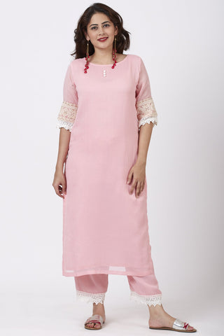 Blush Pink Georgette Crochet Straight Kurti with Straight Palazzo