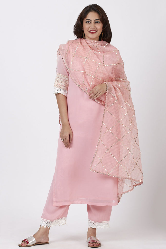 anokherang Combos Blush Pink Georgette Crochet Straight Kurti with Straight Palazzo and Kota Gotta Dupatta