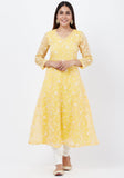 Breezy Lemon Chikankari Embroidered Anarkali with Churidaar