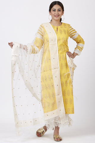 Butter Mustard Leheriya Crochet Kurti with Crochet Pants and Sequenced Organza Dupatta