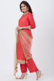 anokherang Combos Carrot Pink Georgette Kurti with Pants and Gold Mirror Stone Dupatta