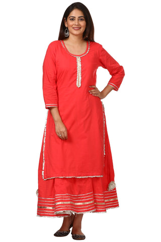 Carrot Red Double Layered Gotta Kurti