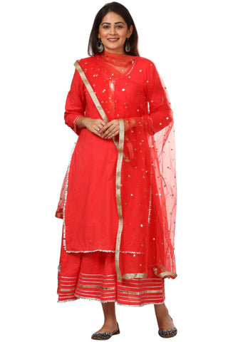 Carrot Red Double Layered Gotta Kurti with Net Sequenced Dupatta