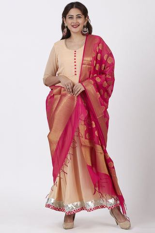 Classical Coral Floor Length Anarkali Dress with Pink Banarsi Dupatta