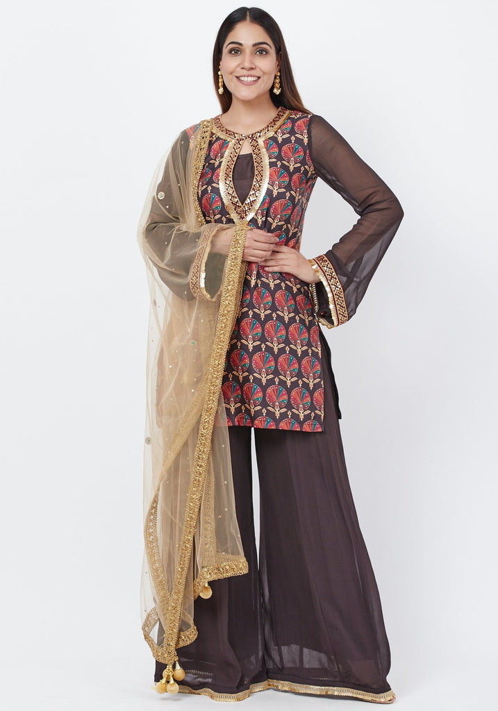 anokherang Combos Coffee Brown Printed Sequenced Short Kurti with Palazzo and Mirror Dupatta