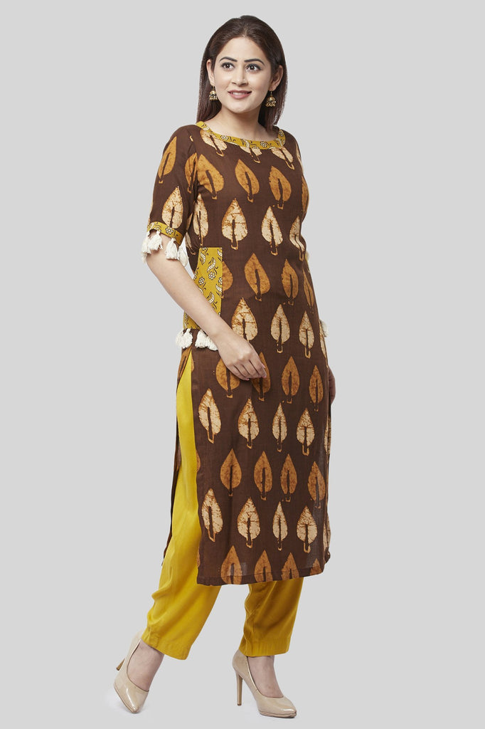 anokherang Combos Coffee Brown Ruffled Pocket Kurti with Straight Palazzo