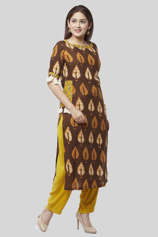 Coffee Brown Ruffled Pocket Kurti with Straight Palazzo