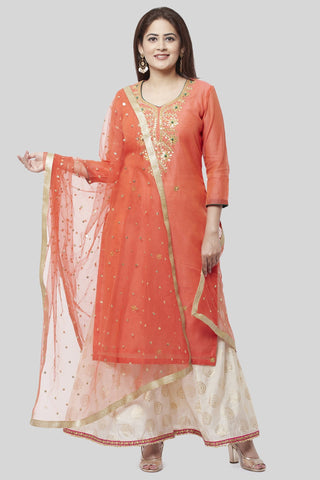 Coral Embroidered Chanderi Kurti and Off-White Foil Kalidaar Palazzo with Coral Net Sequence Dupatta