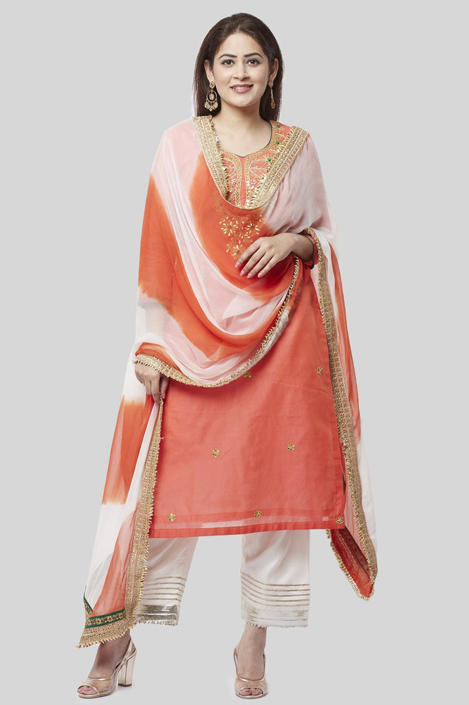 anokherang Combos Coral Embroidered Chanderi Kurti with Off-White Gotta Palazzo and Leheriya Chiffon Dupatta