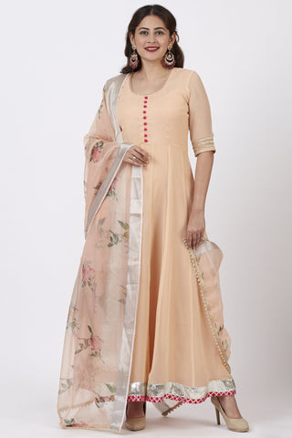 Coral Floor Length Anarkali Dress with Printed Organza Dupatta