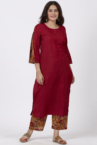 Crimson Red Kurti with Printed Pants