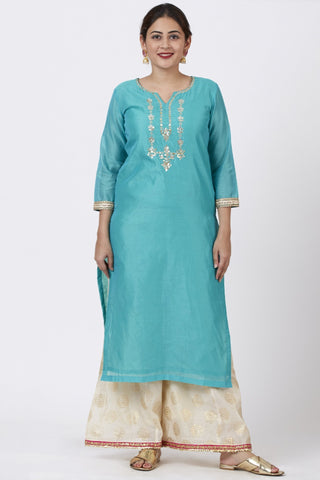 Cyan Gotta Embroidered Kurti with Ivory Foil Print Palazzo