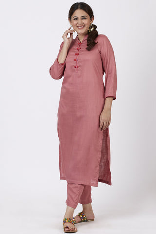 Dusty Rose Straight Kurti with Straight Pants