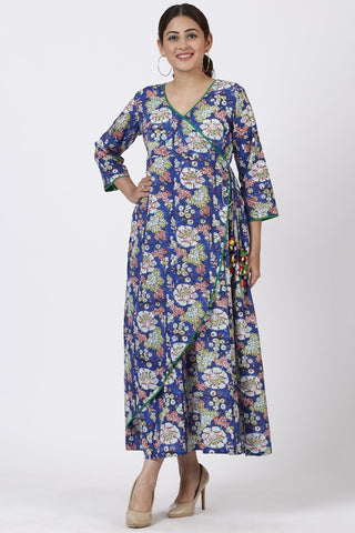 Egyptian Blue Floral Wrap Around Tasseled Kurti