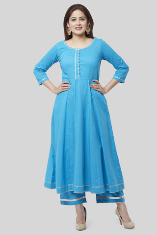 Electric Blue Gotta Anarkali with Straight Palazzo