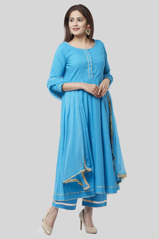 Electric Blue Gotta Anarkali with Straight Palazzo and Gotta Chiffon Dupatta