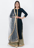 Empress Teal Gold Velvet Kundan Kurti with Banarsi Palazzo and Sequenced Dupatta