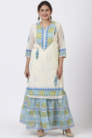 Festive Green Blue Block Printed Kurti with Gathered Sharara