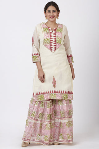 Festive Pink Green Block Printed Kurti with Gathered Sharara