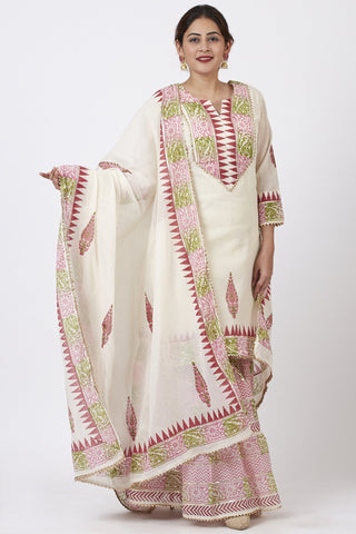 Festive Pink Green Block Printed Kurti with Gathered Sharara and Block Printed Dupatta