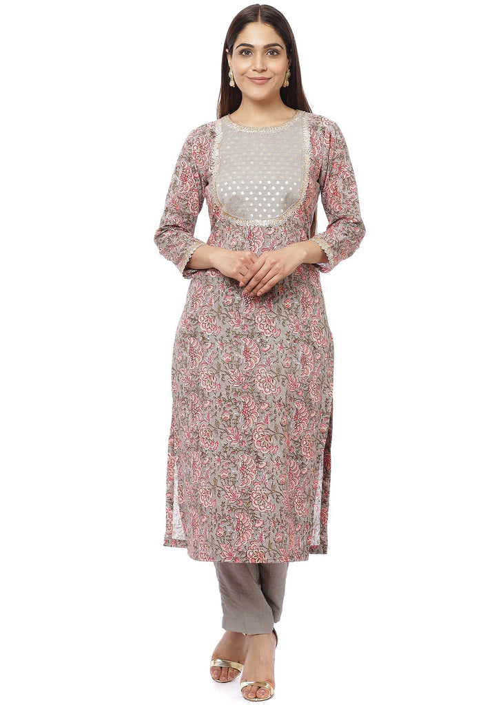 anokherang Combos Floral Gray Gotta Straight Kurti with Straight Pants