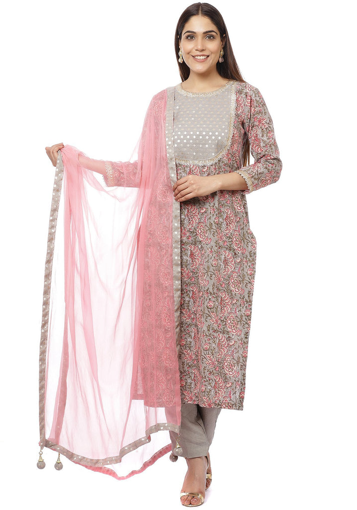 anokherang Combos Floral Gray Gotta Straight Kurti with Straight Pants and Pink Chiffon Dupatta