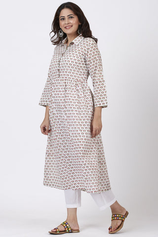Floral Printed Gathered Collared Kurti with Straight Pants