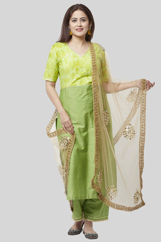 Glorious Green Straight Kurti with Straight Palazzo and Gold Mirror Paisley Dupatta