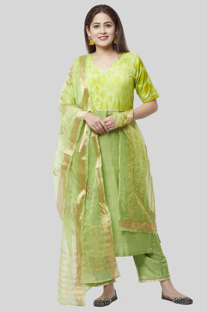 anokherang Combos Glorious Green Straight Kurti with Straight Palazzo and Green Embroidered Dupatta