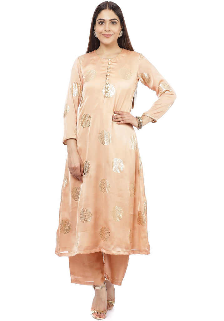 anokherang Combos Gold Blush Foil Straight Kurti with Straight Palazzo