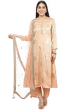 Gold Blush Foil Straight Kurti with Straight Palazzo and  Mirror Stone Dupatta