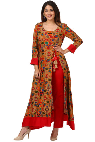 Gold Floral Side Slit Printed Kurti with Straight Pants