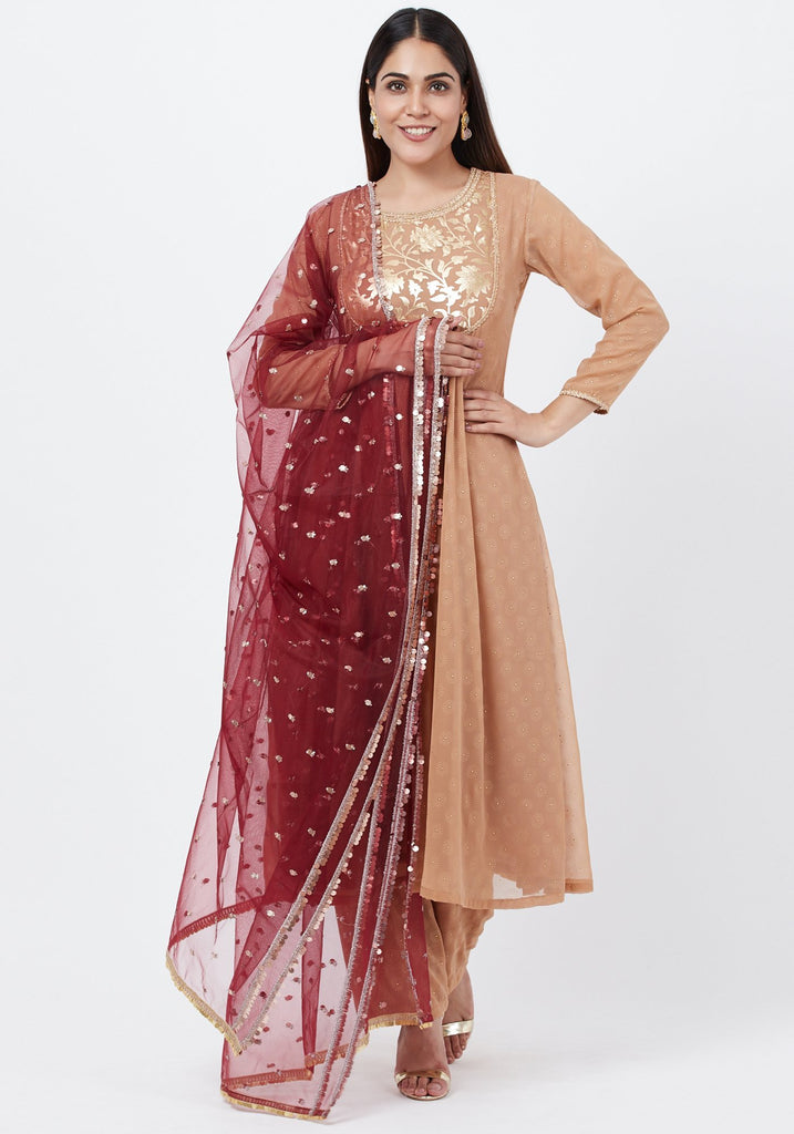 anokherang Combos Gold Georgette Foil Gathered Kurti with Straight Palazzo and Sequenced Dupatta