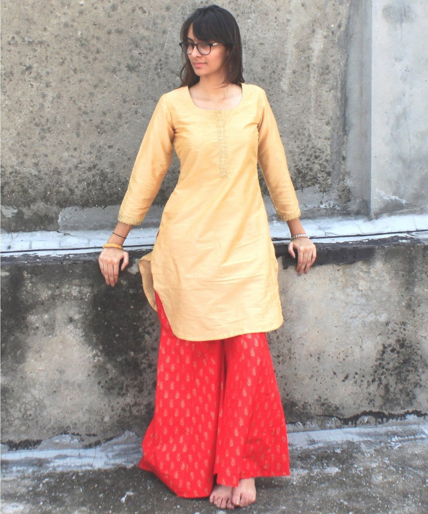 anokherang Combos Gold Mangalam Short Kurti with Red Sharara