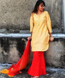 anokherang Combos Gold Mangalam Short Kurti with Red Sharara and Organza Dupatta